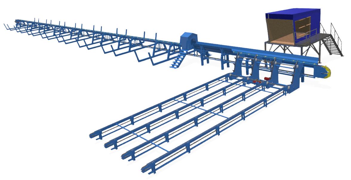 Линии сортировки бревен облегченный вариант с переработкой до 200 000 м3